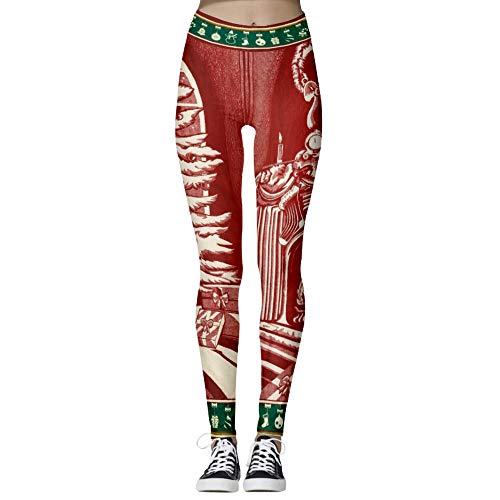 nonbranded La SignoraSignoraNatale Stampa Digitale dell'anca del Pacchetto Pantaloni Skinny di Forma Fisica di YogaRosso M