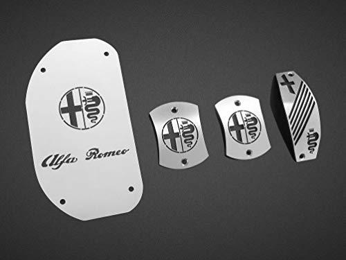 Pedali Con Poggiapiede In Acciaio per Alfa_Romeo 147 & GT (937) - (Cambio Manuale) - 4 Pezzi Pedana Pedaliera Poggapiedi Pedaliere Sportiva Gas Copripedale Freno Frizione Tuning