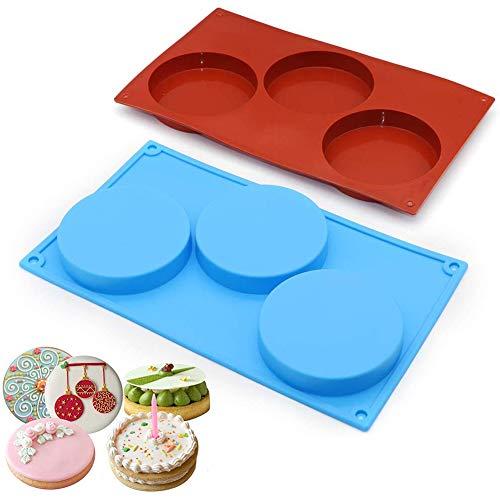 BESLIME Molde de Silicona con Forma de Disco de 3 Cavidades, 2 Paquetes de Pastel de Discos, Tarta, Moldes para Jabón Hechos a Mano (Rojo ladrillo/Azul)