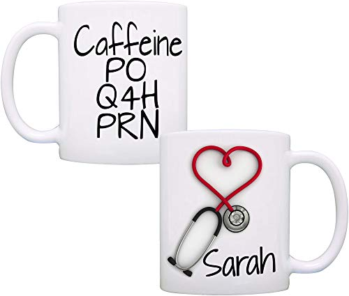 Personalized Stethoscope Mug, Caffeine PO Q4H PRN, Doctor and Nurse Gifts for Women and Men