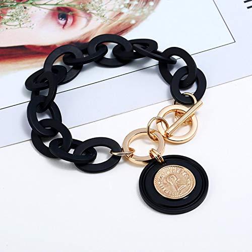 AQUALITYS Pulsera de Cadena de eslabones acrílicos Negros Boho, Pulseras con Colgante de Moneda de Oro con Cabeza de Reina para Mujer, joyería de Pulseras