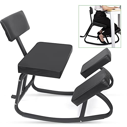 Ergonomic Kneeling Chair with Back Support, Kneeling Stool for Home and Office, Comfortable Computer Chair for Des with Backrest and Thick Cushion, Better Posture - Thick Comfortable Cushions