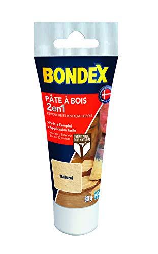 BONDEX - Pate à bois - Rebouche et Restaure le Bois - Sec en 30 min - 80g - Naturel