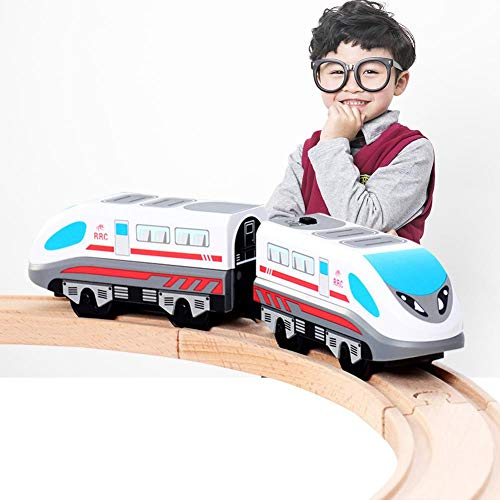 Tren Eléctrico, Locomotora A Batería para Vehículos Ferroviarios Compatible con Thomas BRIO Rail De Madera, Juguete De Locomotora De Tren