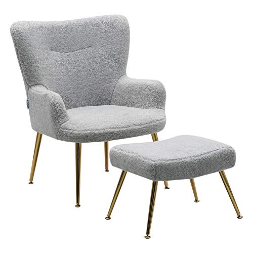 INMOZATA Light Grey Armchair with Foot Stool Mohair High Dining Chair with Footstool Accent Tub Chair with Pouffe Footstool for Living Room Bedroom Dining (Light Grey)