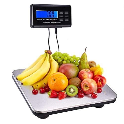 lqgpsx Heavy Duty Digital Shipping Parcel Electronic Scales, Double Precision 300kg/661 Lb*150kg/330lb Multi Purpose Weighing Scales Stainless Steel Luggage Scales Industrial Scales (Silver)