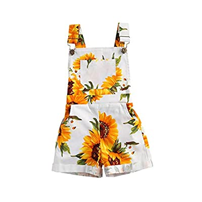 Ayalinggo Toddler Baby Girl Sunflower Print Overalls Shorts with Pocket Suspender Trousers Cute Summer Clothing Outfit (Sunflower Print, 3-4T) by Ayalinggo