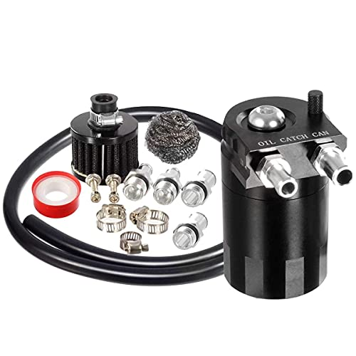 Vincos Universal 3/8'&9/16' 400ml Aluminum Oil Catch Can Dual Cylinder Polish Baffled Engine Air Oil Separator Tank Reservoir Kit with Breather Black Small Drain & High Pressure Hose Line Tube