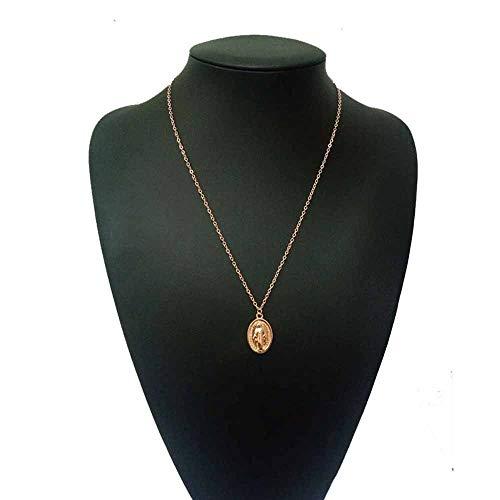 Jovono madonna anhänger halsketten mode halskette kette schmuck für frauen und mädchen (gold)