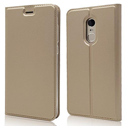 Copmob Cover Xiaomi Redmi Note 4X,Ultrasottile Flip Pelle PU Portafoglio Custodia,[Slot per schede][Funzione Stand][TPU Antiurto],Stile del Libro Magnetico Custodia per Xiaomi Redmi Note 4X - d'oro