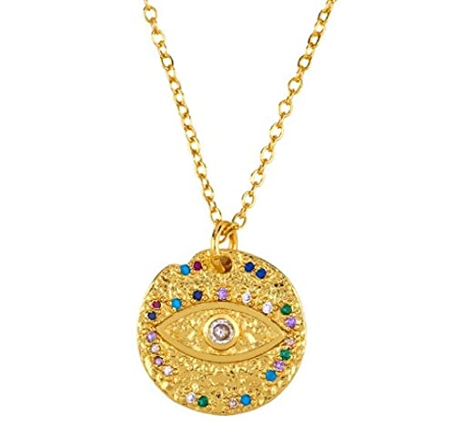 Evil Eye Multicolor Micro Pave Cz Zircon Collar de circonita cúbica Clavícula de cobre Chapado en oro Cadena de serpiente Gargantilla Colgante