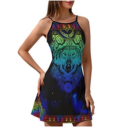 Chicici Fashion Vestido de verano para mujer con cuello redondo azul lobo - hermoso vestido sin mangas