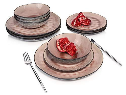 Sänger Geschirrservice Palm Beach - 12 teiliges Geschirr-Set für 4 Personen in Rosa, farbiges Teller-Set aus Steingut mit Servierteller, Dessertteller und Schalen, Vintage-Look durch Reißlack-Effekt