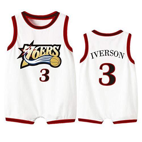 76ers Iverson 3 # Body de bebé, sin mangas camisetas de baloncesto para bebés niños niñas traje mameluco ropa gateando Sui, 123, blanco, 66(cm)