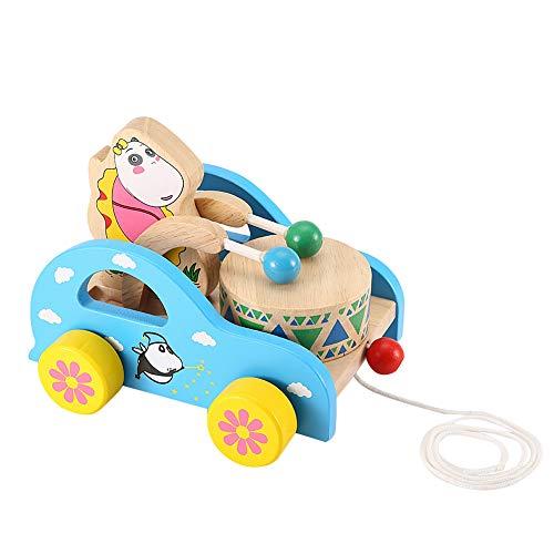 Tire del juguete del tambor, coche de madera del juguete del arrastre con el juguete del tirón de los animales de la secuencia larga, para los niños del juego en casa(Cartoon bear)