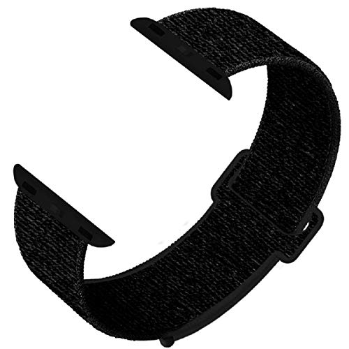 GZ GZHISY Newest Band Compatible with Apple Watch Band 38mm 40mm, Soft Breathable Sport Loop Band Replacement Band, Compatible for iWatch Series 5/4/3/2/1, Dark Black 38mm 40mm