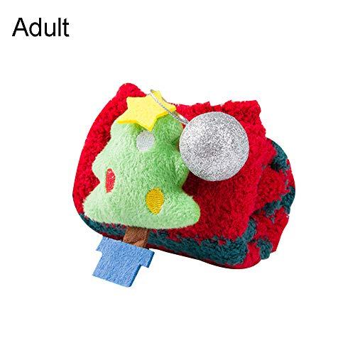 heDIANz Calcetines Antideslizantes Para Padres E Hijos Niños Adulto 3D Árbol De Navidad Calcetín De Santa Coral Adulto *Alce*