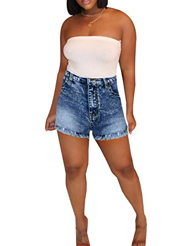 Rela Bota pantalones cortos de mezclilla de cintura alta para levantamiento de glúteos, Mixto azul, M