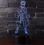3D Lámpara óptico Illusions Luz Nocturna, CKWLED Tabla Lámpara de Escritorio 7 Colores Cambio de Botón Táctil y Cable USB para Cumpleaños, Navidad Regalos de Mujer Bebes Hombre Niños Amigas (Naruto)