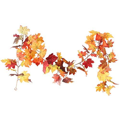 BKAUK Halloween simulación de ratán otoño hoja de arce ratán decoración de Acción de Gracias accesorios de decoración del hogar