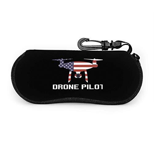 Ruan-Shop USA Flagge Drohne Pilot Brillenetui Porteble Travel Slip In Brillentasche Sonnenbrillen Beutelhalter