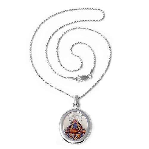 Colgante Plata Ley 925M Virgen Angustias 26mm. Medalla Esmaltada Cadena 45cm. Cordón Mosquetón