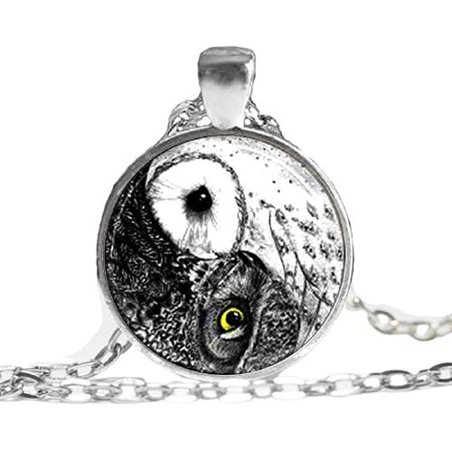 Collar con colgante que brilla en la oscuridad, collar de búho Yin Yang, joyería de pájaros, collar de búho de cristal, foto brillante