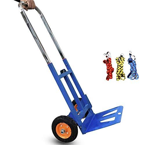 Multifunktionaler Einkaufswagen aus Eisen auf Rädern mit pneumatischem Anti-Pannen-Rad und Einer Kapazität von 200 kg,Blauer Einkaufswagen mit Sitz für Schubkarren, Rasenmäher, Sackwagen und Wagen