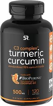Turmeric Curcumin C3 Complex 500mg Enhanced with Black Pepper & Organic Coconut Oil for Better Absorption  Non-GMO & Gluten Free - 120 Count