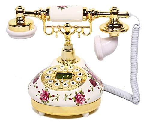 Teléfono de escritorio Antiguo Teléfono Vintage Royal Cordado Teléfono Retro Rotary Antiguo Auricular Teléfono A Teléfono Condado Desempeño Oficina Teléfono Decorativo Vintage (Blanco (Cerámica + ABS)