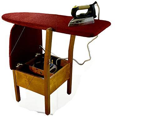 Generico Pratika Mobile da Stiro con ASSE da Stiro a Scomparsa, Stiro Mobile Sedia, Multiuso, Salvaspazio, 40x45x123Cm (Beige)