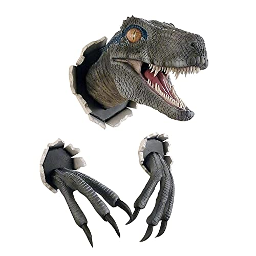 FlekmanArt Wall-Mounted Dinosaur Resin Sculpture Wall-Broken Dinosaur Head with Claw Props Replica Set, 3D Dinosaur Statue Home Art Life-Like Decoration in The Family and Children's Bedroom and Livin