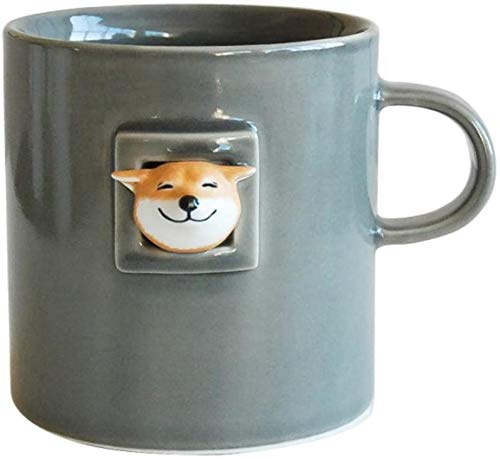 Ceramic Coffee Mug, Ceramic Mug Creative Coffee Cup Shiba Inu Cat Cute Water Cup-(Grey Glaze) Mug Gift for Friend Dad Mom