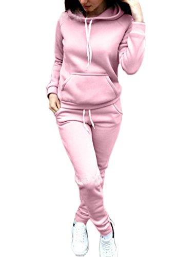 Simple-Fashion Mujer 2pcs Chándal Encapuchada Moda Pantalones Deportivo + Casual Conjuntos Deportivos Otoño Invierno Sudadera con Capucha Sweatshirt Hoodie Chaqueta