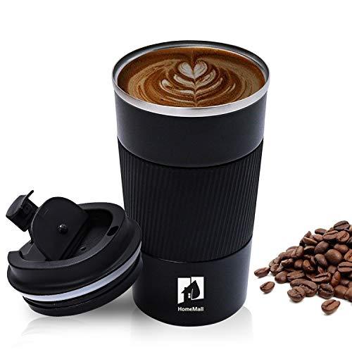 HomeMall Thermobecher, Kaffeebecher to go Becher, 510ml Vakuum Auslaufsicher Reisebecher mit Deckel, Edelstahl Isolierbecher Kaffeebecher für unterwegs-Schwarz