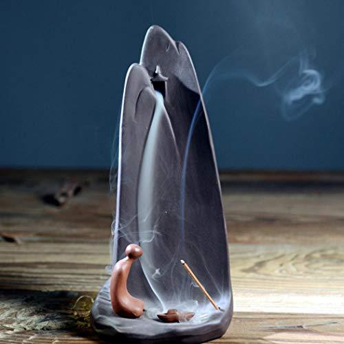 Quemador de incienso, soporte de incienso de reflujo de cerámica Zen para incienso, soporte de...