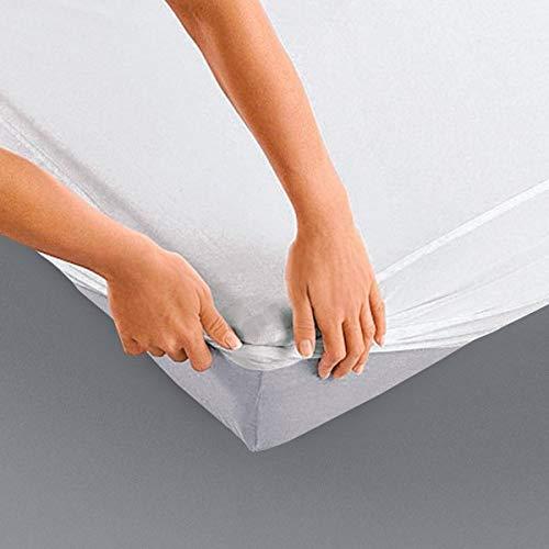Alpes Blanc Protège Matelas Molleton Coton Élastomère 200g/m² 140x190 Drap Housse Imperméable