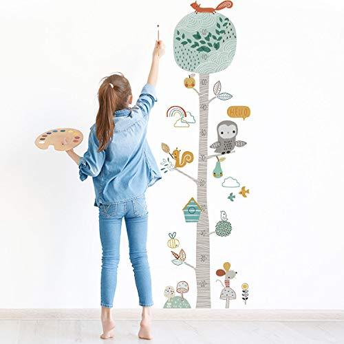 Messlatte Körpergröße Messen Wandsticker Wandtattoo für Kinderzimmer, TANOSAN Wandsticker Kinderzimmer zum Wanddeko, Schlafzimmer Kinderzimmer Wohnzimmer Wanddekoration von Baum und Eule