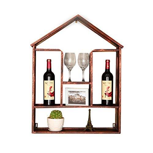 AERVEAL Estante para Vino de Pared para Almacenamiento de Vino Estante Industrial Viento Soporte para Botella de Vino Retro Soporte para 2 Botellas Estante Creativo para Decoración de Bar de Vinos 55