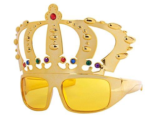 Alsino Lunettes Humoristiques (F-051) arborant Une Couronne dorée en Plastique Convenable pour Adultes et Ados Accessoire pour compléter Votre déguisement ou pour Amuser Vos Amis