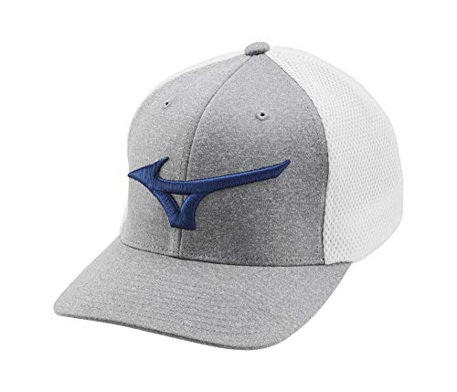 Mizuno Fitted Meshback Golf Hat, White-Royal, One Size
