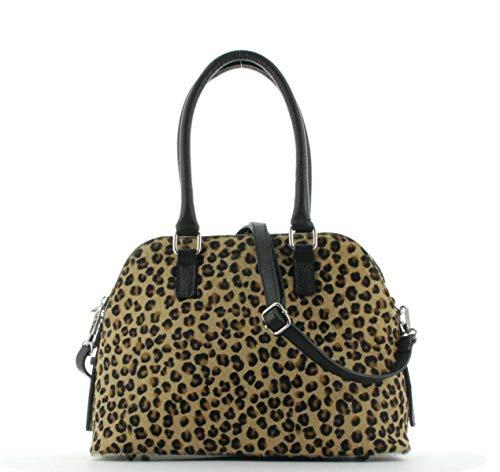 JSI Damen Bowling Tasche, Handtasche, Shopper, Kunstfell, 10 Liter, 31 x 22,5 x 14,5 cm Schwarz/Braun
