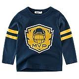 BesserBay Kinder T Shirt Langarm Shirts Baumwolle Jungen Basic Sweatshirts Dunkelblau 7-8 Jahre