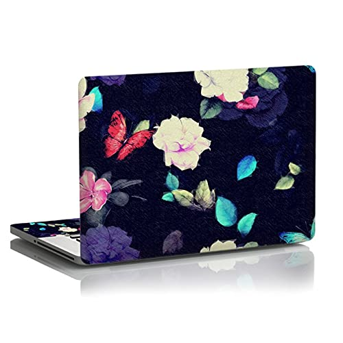 BIJIHUA Laptop Skin Sticker Decal Butterfly and Flowers Laptop Skin Notebook Computer Skins Sticker for 10 12 13 15 15.6 Inch for Mac Pro/Acer/Asus/Xiaomi