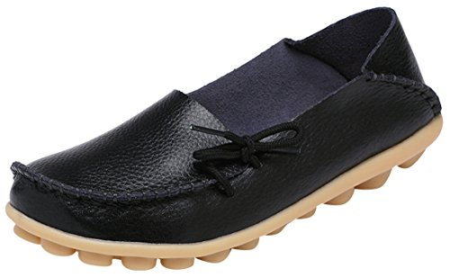 Serene Womens Black Leather Cowhide Casual Lace Up Flat Driving Shoes Boat Slip-On Loafers - Size 10