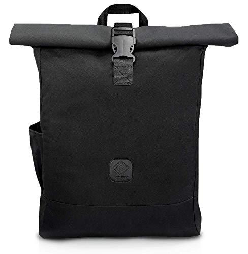 Alopa Rolltop Rucksack 40l schwarz für Damen & Herren - wasserdichter Wanderrucksack mit Laptopfach - geeignet für Uni, Job und Freizeit