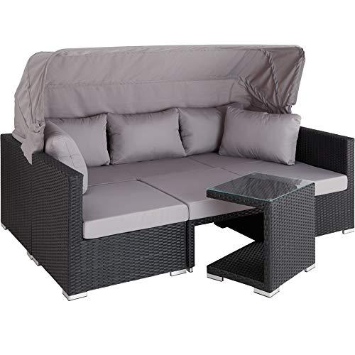 TecTake 800771 Aluminium Poly Rattan Lounge Set, 16-teilig, wetterfest, Garten Sofa mit Sonnendach, Outdoor Sitzgruppe inkl. Kissen und Beistelltisch - Diverse Farben - (Schwarz | Nr. 403426)