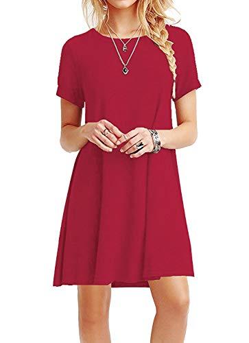 YOUCHAN Kleid Damen Sommerkleid Freizeitkleid Shirtkleid T-Shirt Bluse Tunika Kurzarm Leger Langes Locker Kleider Rot M