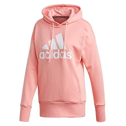 adidas Damen W BOS Long HD Sweatshirt, Rosglo/Blanco, XL