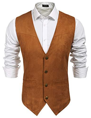 COOFANDY Men Vest Faux Suede 70s Hippie Clothes Open-Front Sleeveless Vest Cardigan Male Brown